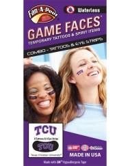 CP-70-R_Fr - Texas Christian University (TCU) Horned Frogs - Waterless Peel & Stick Temporary Tattoos - 12-Piece Combo - 8 Purple/White TCU Logo Spirit Tattoos & 4 Purple/White TCU Logo on Black Eye Strips