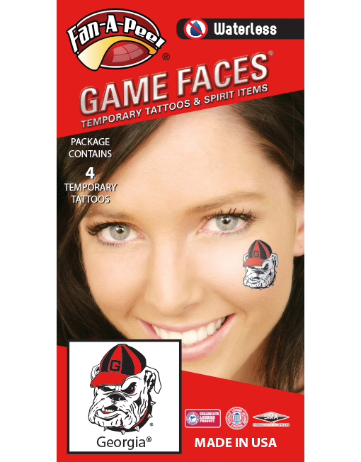 W-C-15_Fr - University of Georgia (UGA) Bulldogs - Waterless Peel & Stick Temporary Spirit Tattoos - 4-Piece - Vintage Hairy Dawg Logo