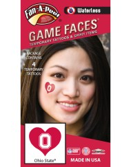 W-C-HRT-19_Fr - Ohio State University (OSU) Buckeyes - Waterless Peel & Stick Temporary Spirit Tattoos - 4-Piece - White O Logo on Scarlet Heart