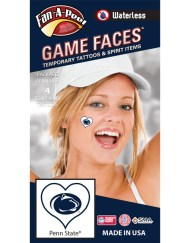 W-C-HRT-36_Fr - Penn State (PSU) Nittany Lions - Waterless Peel & Stick Temporary Spirit Tattoos - 4-Piece - Dark Royal Blue Lion Head Oval Logo in Heart