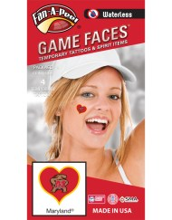 W-C-HRT-51-R_Fr - University of Maryland (UMCP) Terrapins - Waterless Peel & Stick Temporary Spirit Tattoos - 4-Piece - Testudo Logo on Red Heart