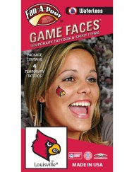 W-CB-200_Fr - University of Louisville (U of L) Cardinals - Waterless Peel & Stick Temporary Spirit Tattoos - 4-Piece - Red Louie Bird Head Logo