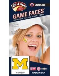 W-CF-34_Fr - University of Michigan (U of M) Wolverines - Waterless Peel & Stick Temporary Spirit Tattoos - 4-Piece - Maize/Blue M Logo