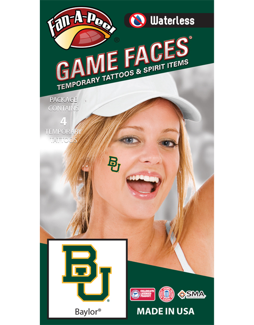 W-CF-40_Fr - Baylor University Bears - Waterless Peel & Stick Temporary Spirit Tattoos - 4-Piece - Green/Gold BU Logo