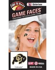 W-CF-41_Fr - Colorado University (CU) Buffaloes - Waterless Peel & Stick Temporary Spirit Tattoos - 4-Piece - Black/Gold CU Bison Logo