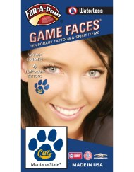 W-CH-148_Fr - Montana State University (MSU) Bobcats - Waterless Peel & Stick Temporary Spirit Tattoos - 4-Piece - Gold Cats on Blue Paw Print