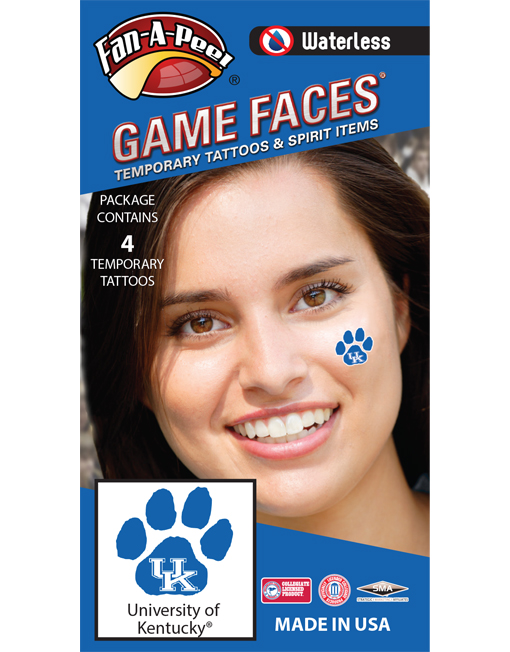 W-CH-49_Fr - University of Kentucky (UK) Wildcats - Waterless Peel & Stick Temporary Spirit Tattoos - 4-Piece - White UK Logo on Blue Paw Print