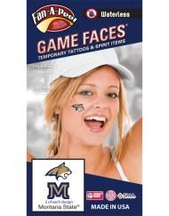W-CI-148-R_Fr - Montana State University (MSU) Bobcats - Waterless Peel & Stick Temporary Spirit Tattoos - 4-Piece - 2 Gold/Blue Champ Head Logo & 2 Gold/Blue M Logo