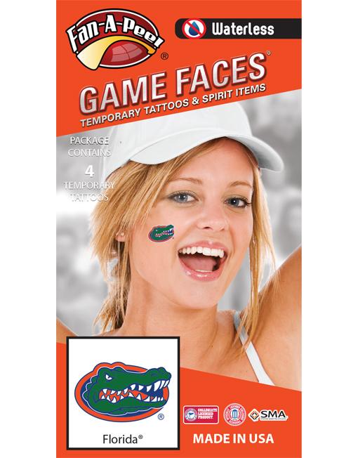 W-CS-14_Fr - University of Florida (UF) Gators - Waterless Peel & Stick Temporary Spirit Tattoos - 4-Piece - Green/Orange/Blue Gator Head Oval