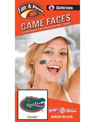 W-CS-14_Fr - University of Florida (UF) Gators - Waterless Peel & Stick Temporary Spirit Tattoos - 4-Piece - Green/Orange/Blue Gator Head Oval