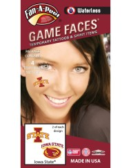 W-CS-47-R_Fr - Iowa State University (ISU) Cyclones - Waterless Peel & Stick Temporary Spirit Tattoos - 4-Piece - 2 Cardinal/Gold I-State Logo & 2 Cardinal/Gold I-State Cy Oval