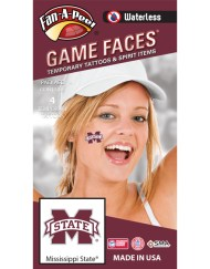 W-CS-54_Fr - Mississippi State University (MSU) Bulldogs - Waterless Peel & Stick Temporary Spirit Tattoos - 4-Piece - Maroon/White M-State Logo