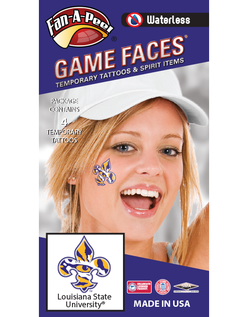 W-CX-50_Fr - Louisiana State University (LSU) Tigers - Waterless Peel & Stick Temporary Spirit Tattoos - 4-Piece - Purple/Gold Tiger Eye Fleur De Lis Logo