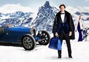 Die schneebedeckten Gipfel des noblen Skigebiets Courchevel 1850 bilden die Szenerie für eine neue Anzeigenkampagne von Bugatti