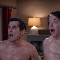 "Ty Burrell as Philip Dunphy and Matthew Broderick as Dave shirtless in Modern Family 4x08 ""Mistery Date"""