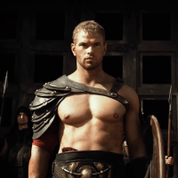 Scott Adkins as King Amphitryon, Liam McIntyre as Sotiris and Kellan Lutz as Hercules/Alcides shirtless in The Legend of Hercules