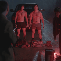 "Jim Watson as Pat and Kyle Mac as Ronnie shirtless in Between 1x01 ""School's Out"""