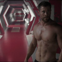 Chris Hemsworth as Thor shirtless in Thor: Ragnarok
