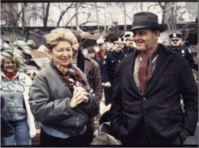 Marcia with Jack Nicholson on the set of, 'Ironweed.'