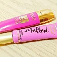 Too Faced Melted Violet Lipstick VS L.A. Girl Coy Glazed Lip Paint