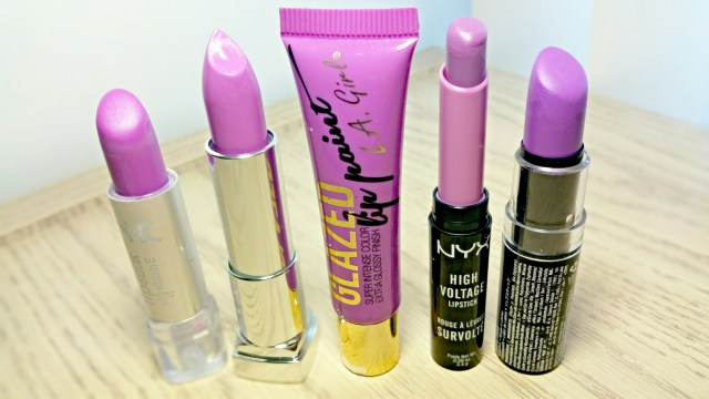 Nicka K Lavender Tint Lipstick, Maybelline Lilac Flush Rebel Bloom Lipstick, L.A. Girl Coy Glazed Lip Paint, NYX Playdate High Voltage Lipstick, NYX Violet Macaron Lipstick
