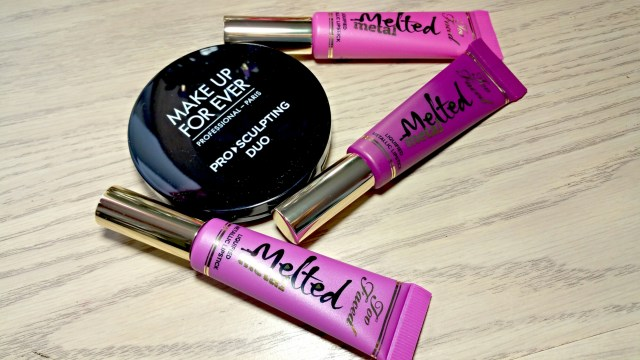 Make Up For Ever Pro Sculpting Duo 2 Golden Too Faced Melted Metallic Lipsticks Melted Metallic Violet, Melted Metallic Dream House, Melted Metallic Jelly