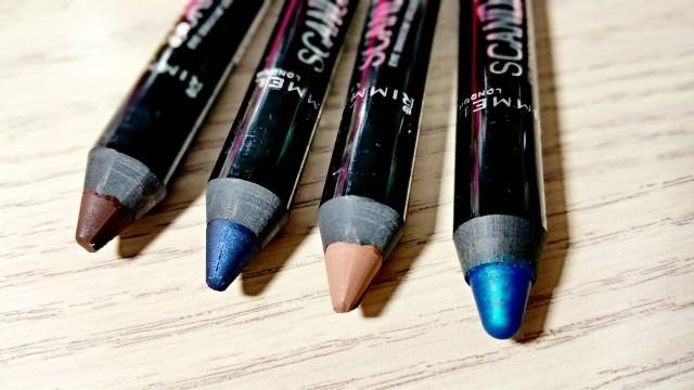 Rimmel Blamed Blue, Trespassing Taupe, Naughty Navy, Bootleg Brown ScandalEyes Eyeshadow Sticks