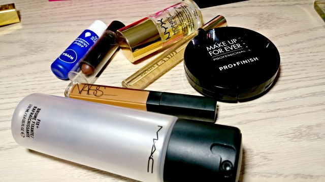 MAC Fix+, NARS Amande Radiant Creamy Concealer, Black Radiance Dark Concealer Stick, Nivea A Kiss of Moisture Essential Lip Care, Prada Candy Perfume, NYX Honey Dew Me Up Primer & Serum, Make Up For Ever Pro Finish Multi Use Powder
