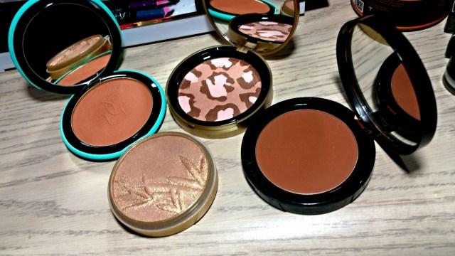 Guerlain, Terracotta bronzer, 02 natural blondes, Too Faced Pink Leopard Blushing Bronzer, Icing Instinct Bronzer, Bobbi Brown Deep Bronzing Powder