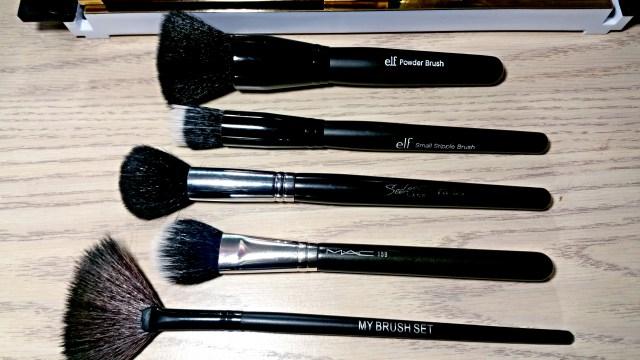 ELF Studio Powder Brush, MAC 159 Duo Fibre Face Brush, ELF Studio Small Stipple, Brush, My Brush Set Fan Brush, Sedona Lace Dome Contour Brush