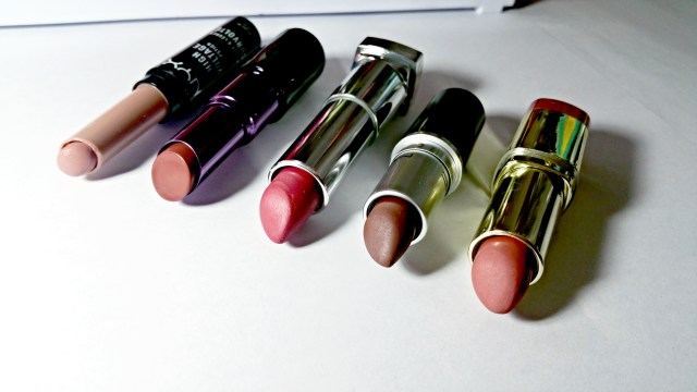 5 Fall Nude Lipsticks: NYX Stone High Voltage Lipstick, Urban Decay 1993 Matte Revolution Lipstick, Maybelline Touch of Spice Color Sensational Matte Lipstick, MAC Stone Lipstick, Milani Matte Naked Color Statement Matte Lipstick