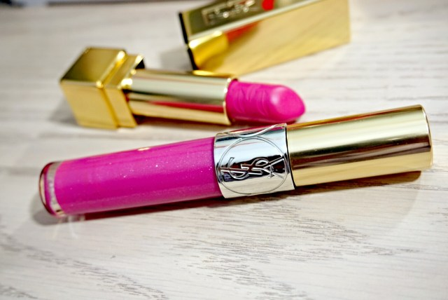 Yves Saint Laurent 49 Terriblement Fuchsia Gloss Volupte, 19 Le Fuchsia Rouge Pur Couture Lipstick
