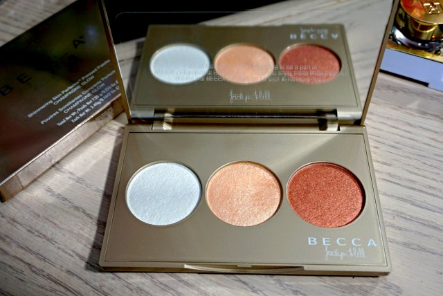 Becca Champagne Glow Shimmering Skin Perfector Pressed Palette: Blushed Copper, Champagne Pop, Pearl