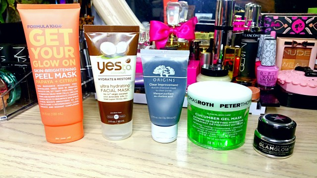 5 Masks for Glowing Skin: Formula 10.0.6 Get Your Glow On Skin Brightening Peel Mask, Yes to Coconut Ultra Hydrating Facial Mask, Origins Clear Improvement Active Charcoal Mask, Peter Thomas Roth Cucumber Gel Mask, GlamGlow Tinglexfoliate Treatment
