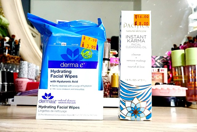 Derma E Hydrating Facial Wipes, Pacifica Instant Karma Facial Cleansing Oil