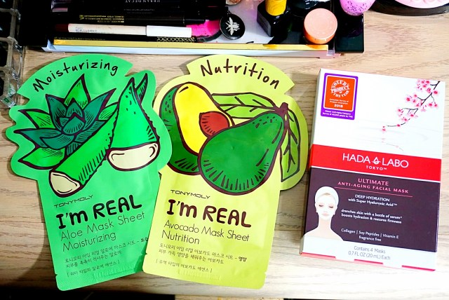 Tony Moly I'm Real Aloe Moisturizing Mask Sheet, Tony Moly I'm Real Avocado Nutrition Mask Sheet, Hada Labo Ultimate Anti-Aging Facial Mask