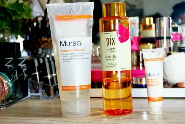 Murad Essential-C Cleanser, Pixi Glow Tonic Exfoliating Toner, Murad Essential-C Day Moisture
