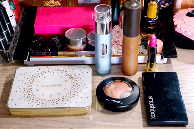 Becca x Jaclyn Hill Champagne Collection Face Palette, Clinique Turnaround Concentrate Extra Radiance Renewer, MAC Otherearthly Mineralize Skinfinish, Becca Topaz Shimmering Skin Perfector, Urban Decay Big Bang Vice Lipstick, Smashbox Culver City Coral L.A. Lights Blush & Highlight Palette
