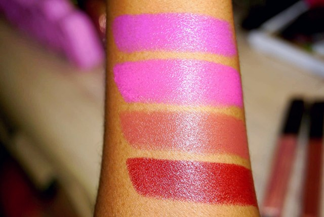 Butter London !!!, Rebellious, Buzzed and Provocative Plush Rush Lipstick Swatches on Dark Skin