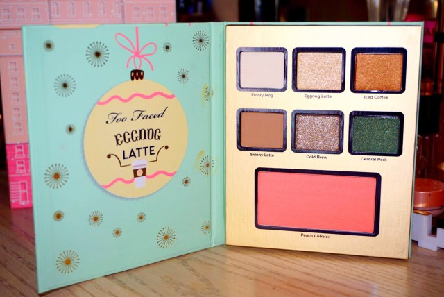 Too Faced Grand Hotel Cafe Eggnog Latte Palette Swatches on Dark Skin