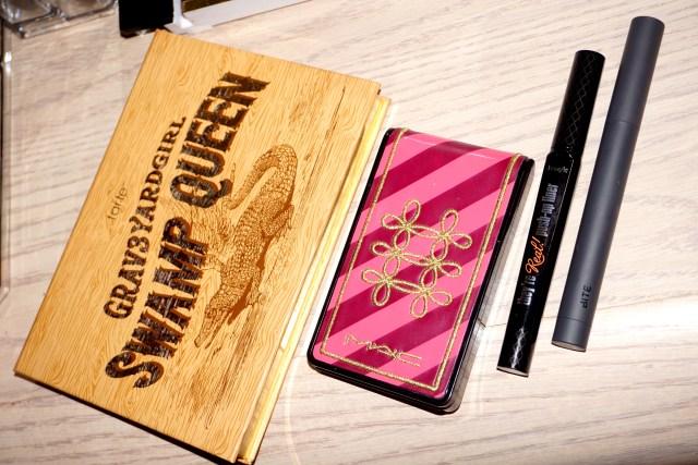 Tarte Swamp Queen Palette, MAC Nutcracker Sweet Copper Face Compact, Benefit They're Real Push Up Liner, Bite Beauty Cava Matte Creme Lip Crayon