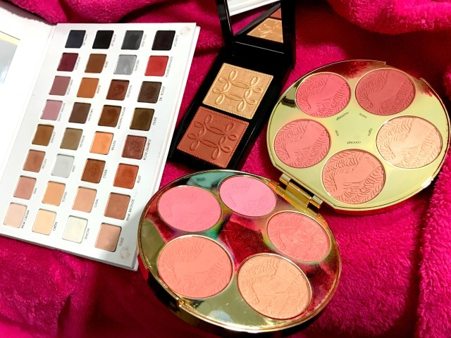 LORAC Mega Pro 3, MAC Nutcracker Sweet Copper Face Compact, Tarte Color Wheel Amazonian Clay Blush Palette