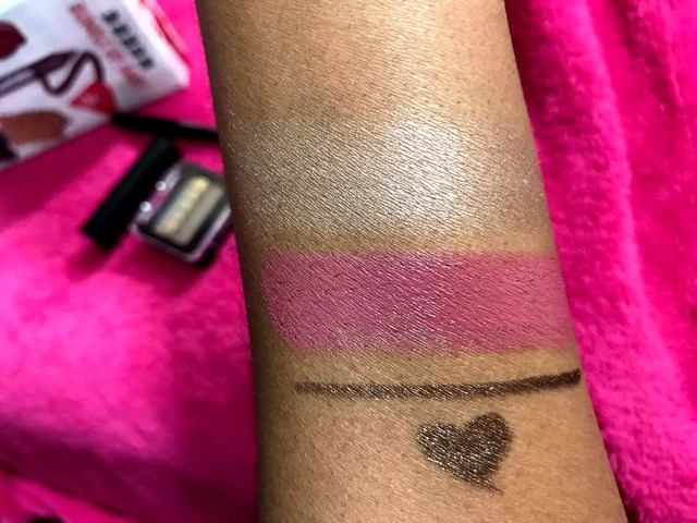 Buxom Bundle Up, Baby: Style Icon Eyeshadow, Sultry Mauve Big and Sexy Bold Gel Lipstick, Come Over Hold the Line Waterproof Eyeliner Swatches on Dark Skin