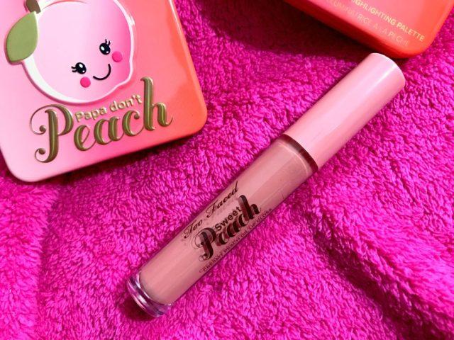 Too Faced Sweet Peach Creamy Peach Lip Oil in Papa Don't Peach Swatches on Dark Skin