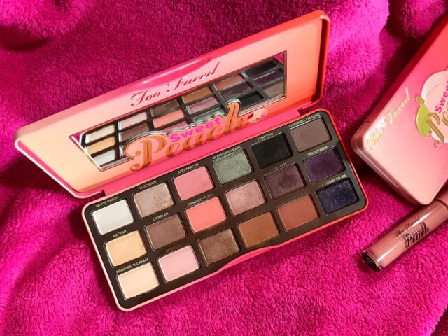 Too Faced Sweet Peach Eyeshadow Palette Swatches on Dark Skin