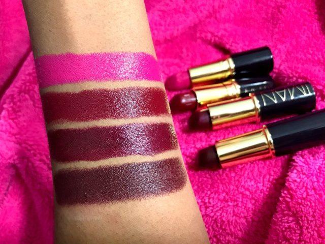 Iman Luxury Moisturizing Lipsticks Flirtatious, Black Brandy, Wild Thing, Opal Swatches on Dark Skin