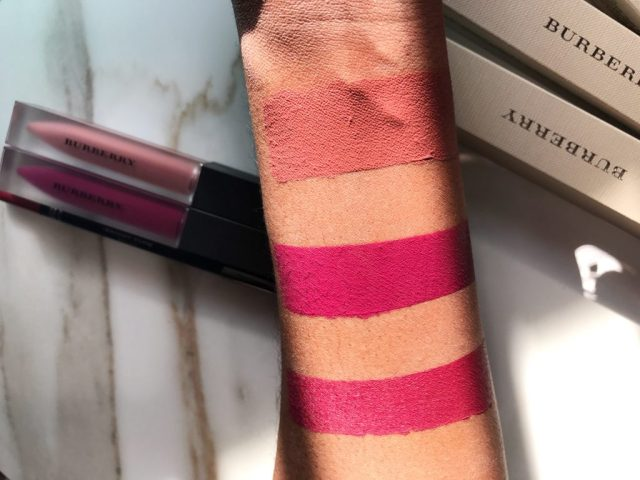 Burberry, Fawn No. 05 Liquid Lip Velvet, Bright Plum No. 49 Liquid Lip Velvet, Bright Plum No. 07 Lip Definer Lip Shaping Pencil Swatches on Dark Skin