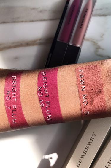 Burberry Fawn No. 05 Liquid Lip Velvet, Bright Plum No. 49 Liquid Lip Velvet, Bright Plum No. 07 Lip Definer Lip Shaping Pencil Swatches on Dark Skin