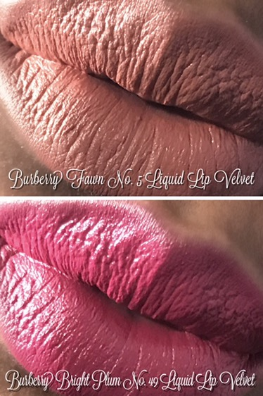 Burberry Liquid Lip Velvet in Fawn No. 05 and Bright Plum No. 49 Swatches on Dark Skin