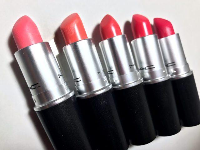 MAC Flamingo Lustre Lipstick, Sushi Kiss Satin Lipstick, Vegas Volt Amplified Creme Lipstick, Toying Around Satin Lipstick, Party Parrot Matte Lipstick
